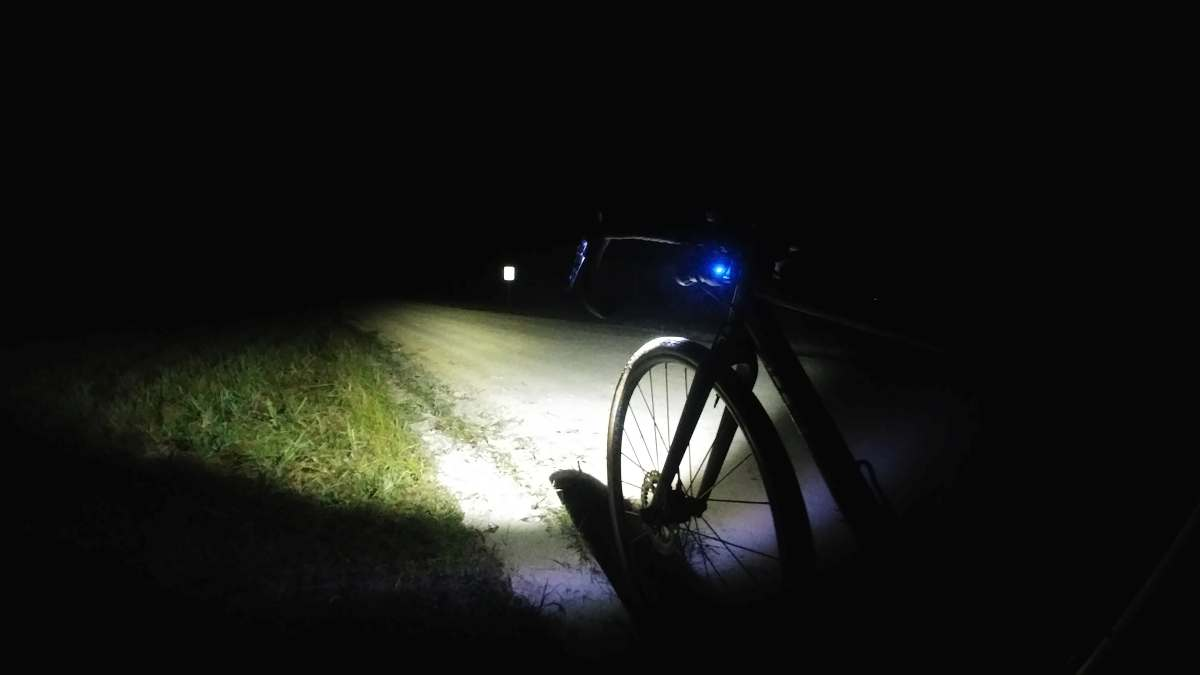 gravel cycling at nighttime